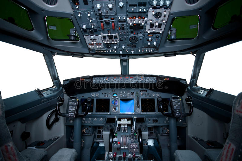 Boeing interior, cockpit view royalty free stock photography