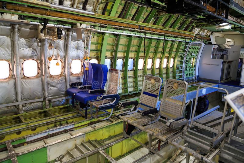 Boeing 747 Interior Stripped Stock Photo - Image of indoor, seat ...