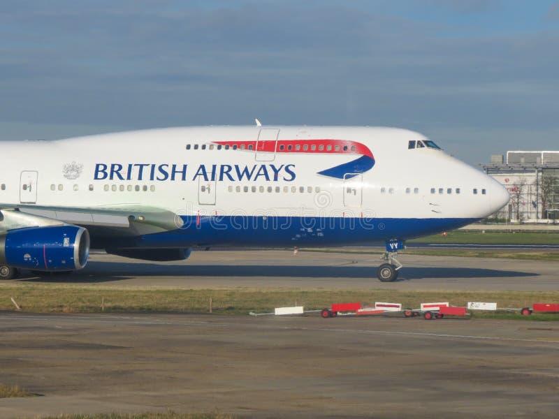 Boeing 747 Jumbo of the British Aurways royalty free stock photography
