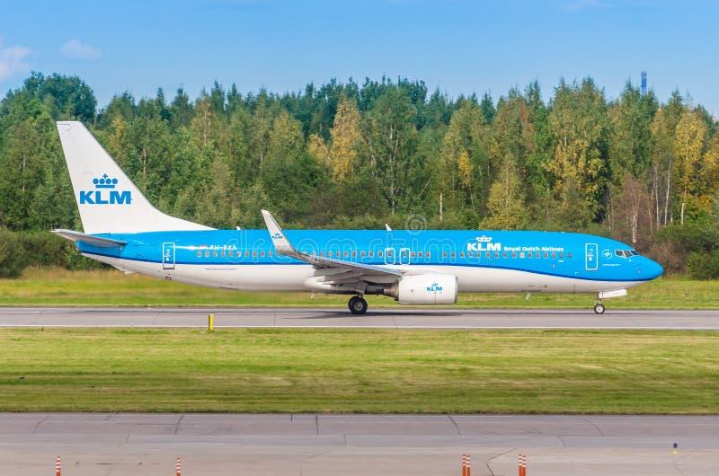 Boeing 737-800 KLM airlines, airport Pulkovo, Russia Saint-Petersburg. August 15. 2018. stock photos