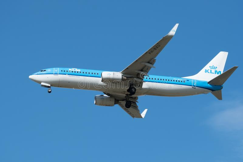 Boeing 737-800 of KLM Royal Dutch Airlines. Board number PH-BXU. royalty free stock photo