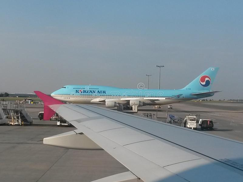Boeing 747 of the Korean Airlines stock photo