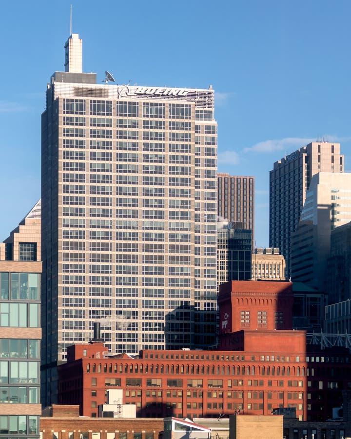 Boeing Korporacyjne kwatery główne w Zachodniej pętli Firmy w Chicago obraz royalty free