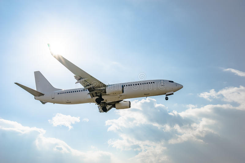 Boeing 737-800. Landing to the airport royalty free stock photography