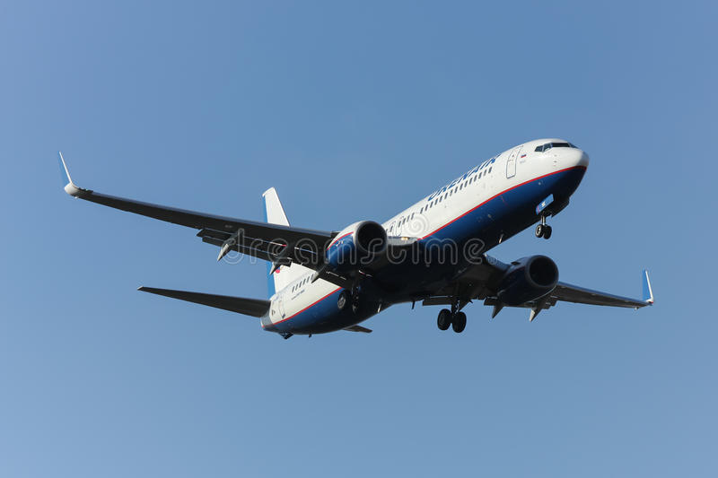Boeing lands in Rostov-on-Don stock photo