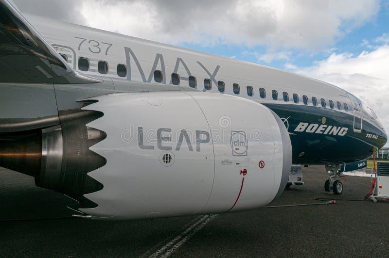 Boeing 737-8 MAX, N8704Q, Airshow Internacional de Farnborough, 11 de julho de 2016 fotografia de stock