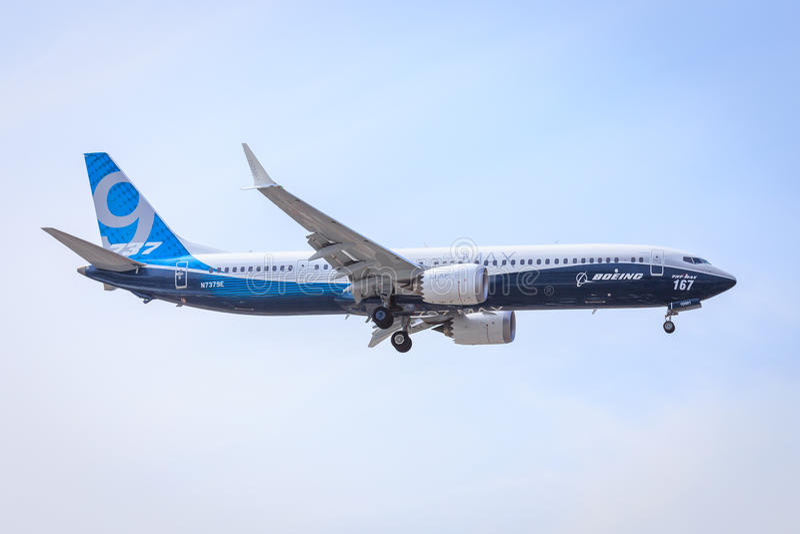 Boeing Maximum 737-9 royalty-vrije stock afbeelding