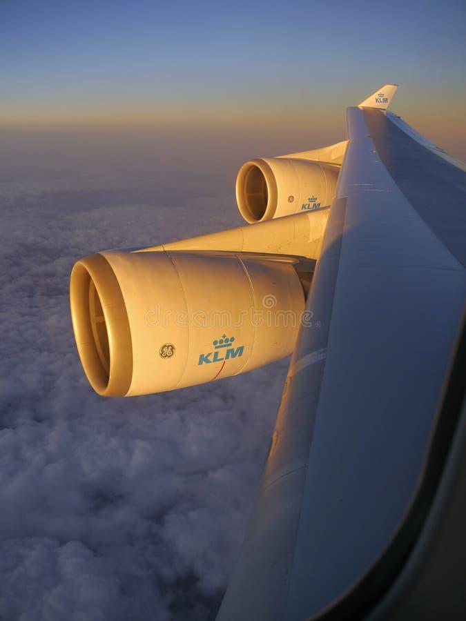 Boeing 747 moteurs KLM images libres de droits