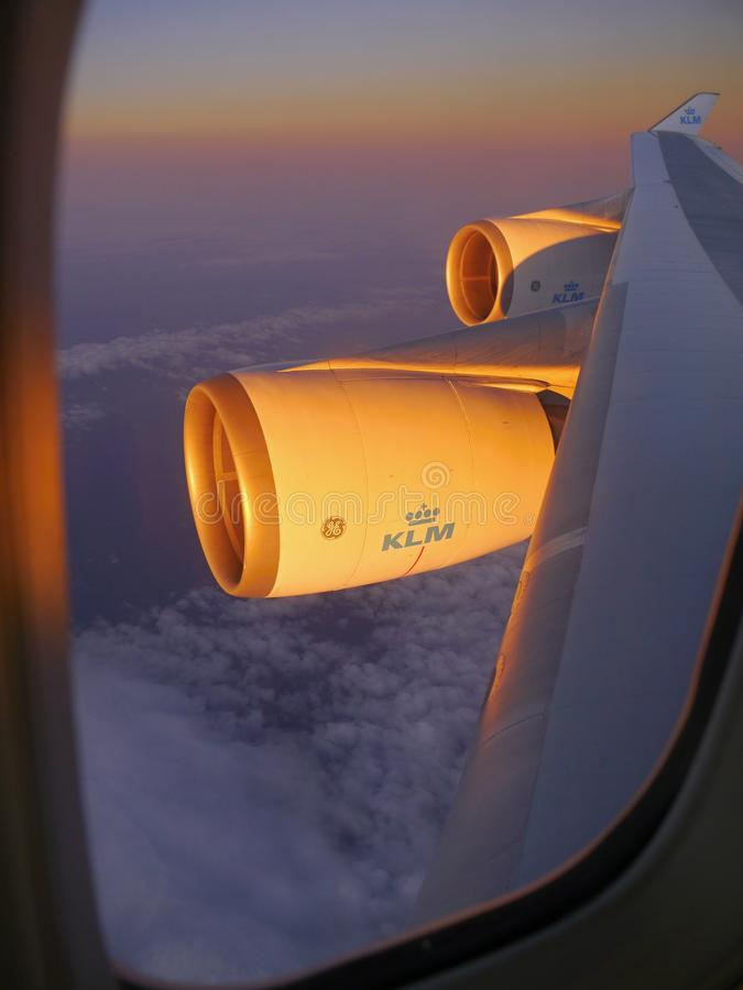 Boeing 747 moteurs KLM photographie stock