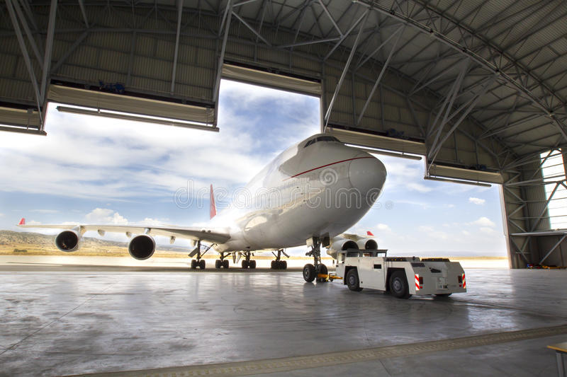Boeing 747. Plane boeing 747 in the hangar an airport stock photography