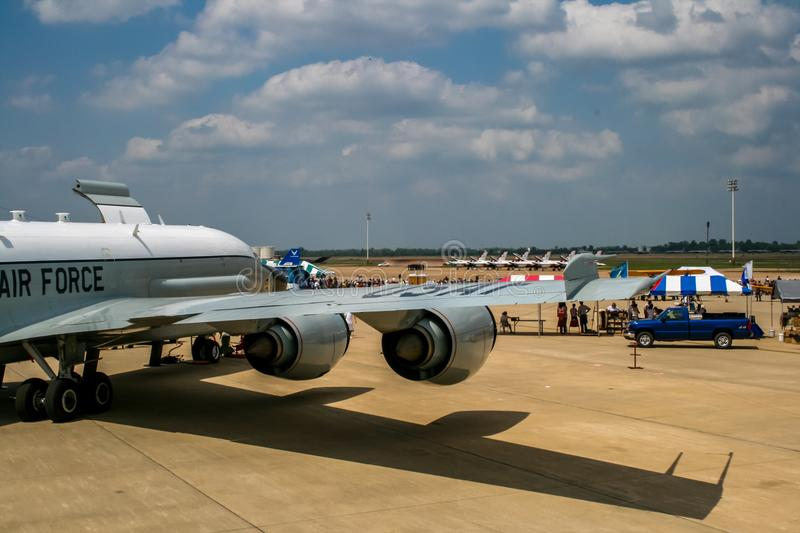 Boeing RC-135 Rivet Joint reconnaissance aircraft. At Barksdale Air Base. Since 1933, the base has been inviting the public to view aircrafts at the annual stock images