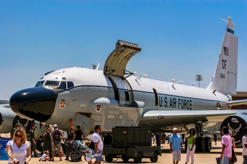 Boeing RC-135 Rivet Joint reconnaissance aircraft. At Barksdale Air Base. Since 1933, the base has been inviting the public to view aircrafts at the annual stock photos