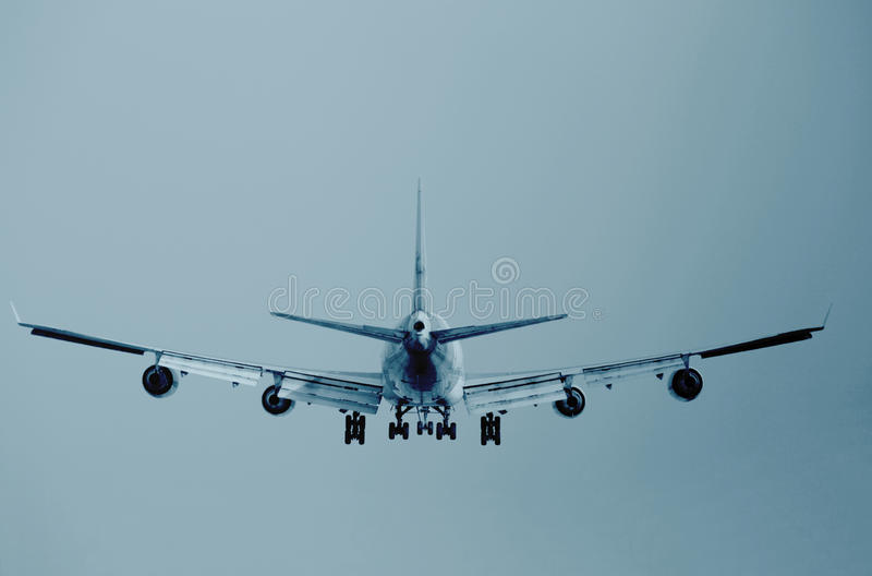 A boeing 747 rotating on the runway. A boeing 747 rotating at Airport stock photo