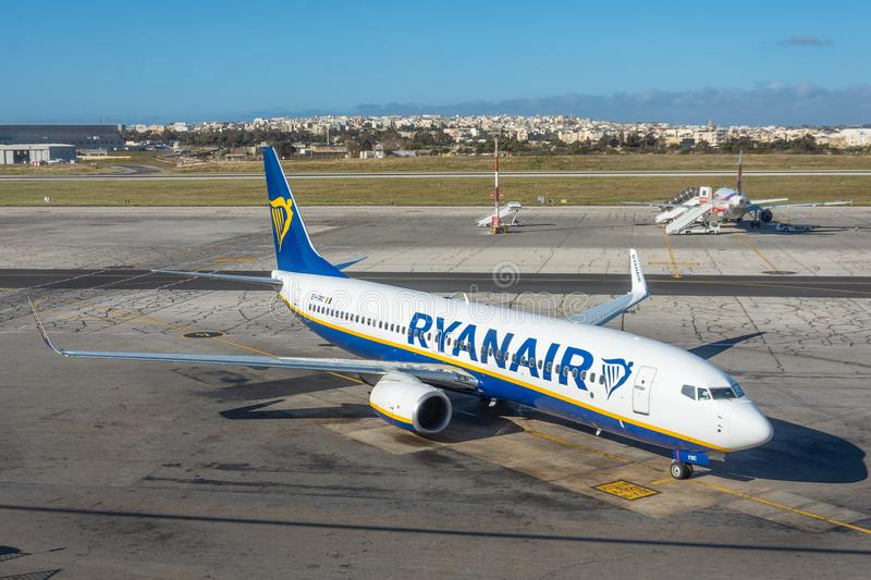 Boeing 737-800 Ryanair airlines, airport Luqa Malta, 28 April 2019.  royalty free stock photos