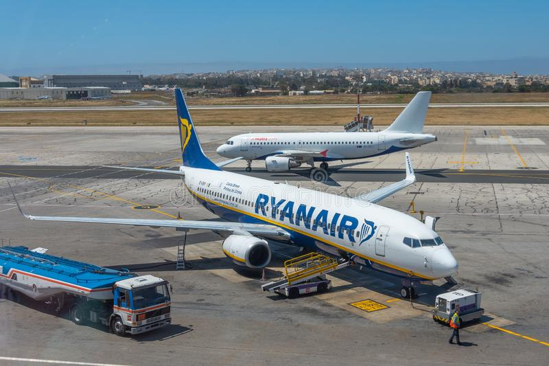Boeing 737-800 Ryanair airlines, airport Luqa Malta, 28 April 2019 royalty free stock image