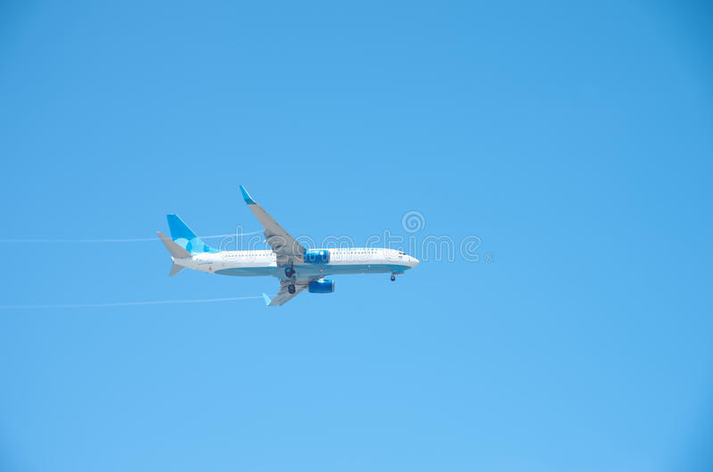 Boeing 737-800. Sochi, Russia - June 11: Aircraft Boeing 737-800, operated by Pobeda, landing in airport of Sochi, on June 11, 2015 in Sochi stock images