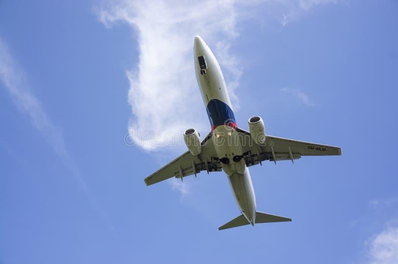 Boeing 737 som är klar för att landa arkivbilder