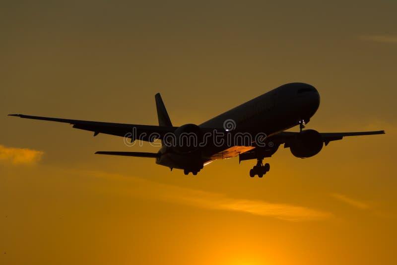 Boeing 777 Sunset stock image