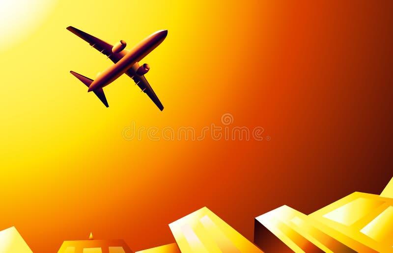 Boeing And Sunset On Sky Skipper Stock Vector Illustration Of