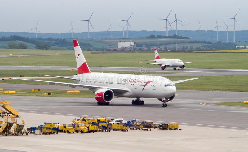 Boeing 777 on the taxiway stock photo