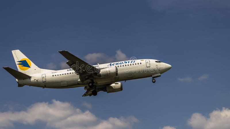 Boeing 737. Ukraine Aerosvit Airlines landing at airport stock images