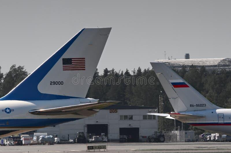 Boeing 747 van Donald Trump en Vladimir Putin IL-96 royalty-vrije stock foto's