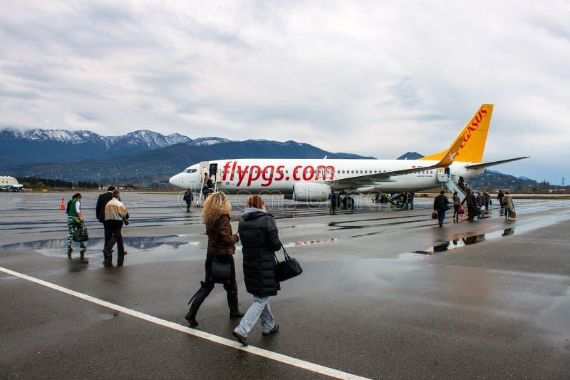 Boeing 737-800 van Pegasus Airlines in Batumi royalty-vrije stock fotografie