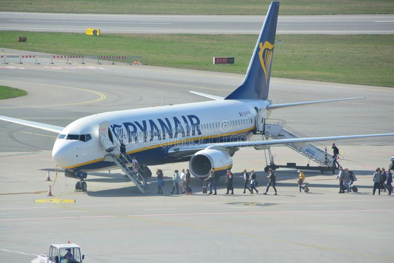 Boeing 737-800 view. This is a view of Ryanair plane Boeing 737-800 registered as EI-FOI on the Warsaw Chopin Airport. April 1, 2017. Warsaw, Poland royalty free stock photos