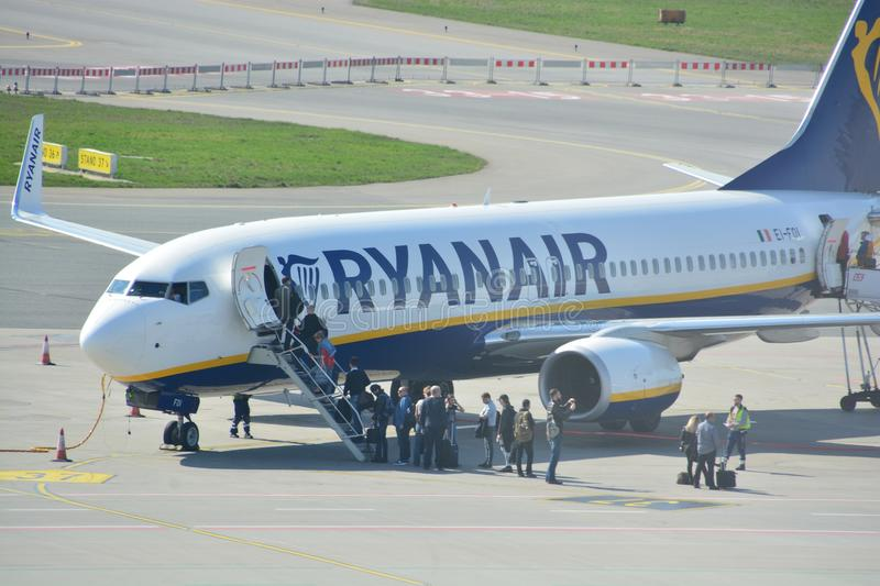 Boeing 737-800 view. This is a view of Ryanair plane Boeing 737-800 registered as EI-FOI on the Warsaw Chopin Airport. April 1, 2017. Warsaw, Poland royalty free stock photo