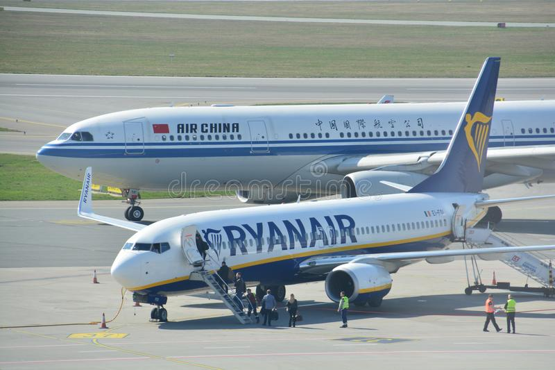 Boeing 737-800 view. This is a view of Ryanair plane Boeing 737-800 registered as EI-FOI on the Warsaw Chopin Airport. April 1, 2017. Warsaw, Poland royalty free stock photography