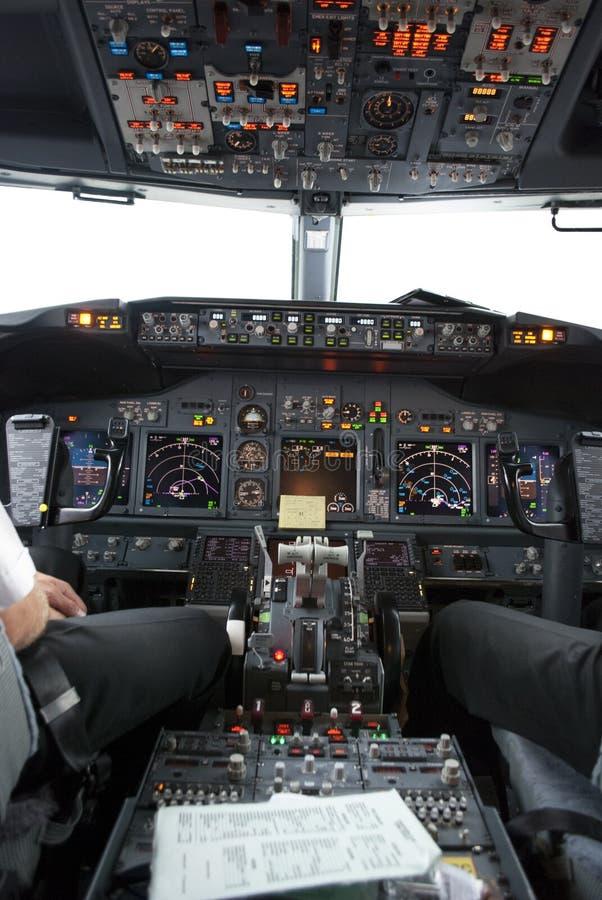 Boeing 737 vluchtdek royalty-vrije stock foto