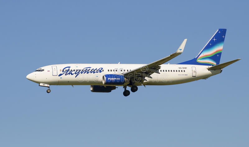 The Boeing 737-800 (VQ-BMP ) airlines Yakutia in flight closeup stock images