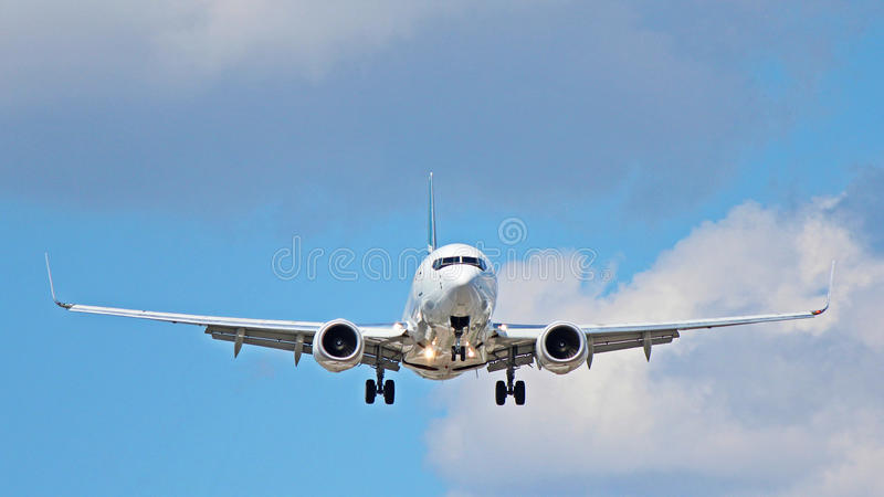 Boeing 737-800 With Winglets. A Boeing 737-800 aircraft on final approach to Toronto Pearson International Airport YYZ royalty free stock photos