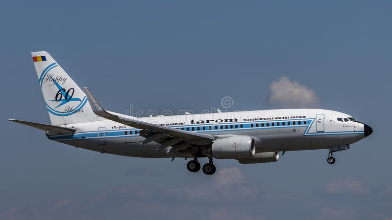 Boeing 737-700 YR-BGG from TAROM royalty free stock images