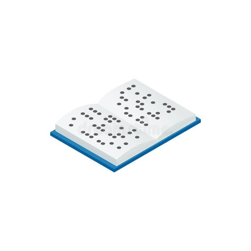 Boek in Braille-pictogram, isometrische 3d stijl wordt geschreven die royalty-vrije illustratie