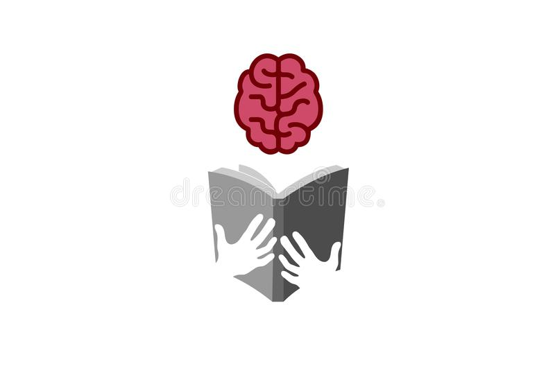 Boek Brain Reading Logo stock illustratie