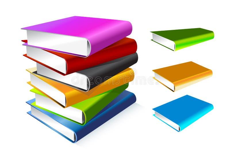 Boek 3d vectordieillustratie op wit wordt geïsoleerd stock illustratie
