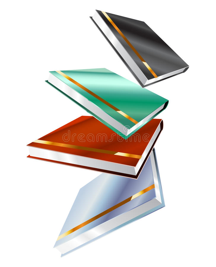Boek 3d vectordieillustratie op wit wordt geïsoleerd vector illustratie