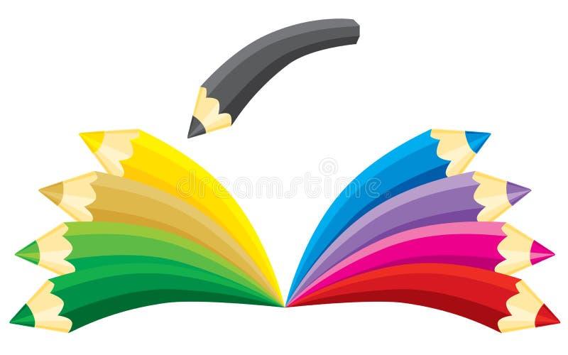 Boek dat van potloden wordt gemaakt royalty-vrije illustratie