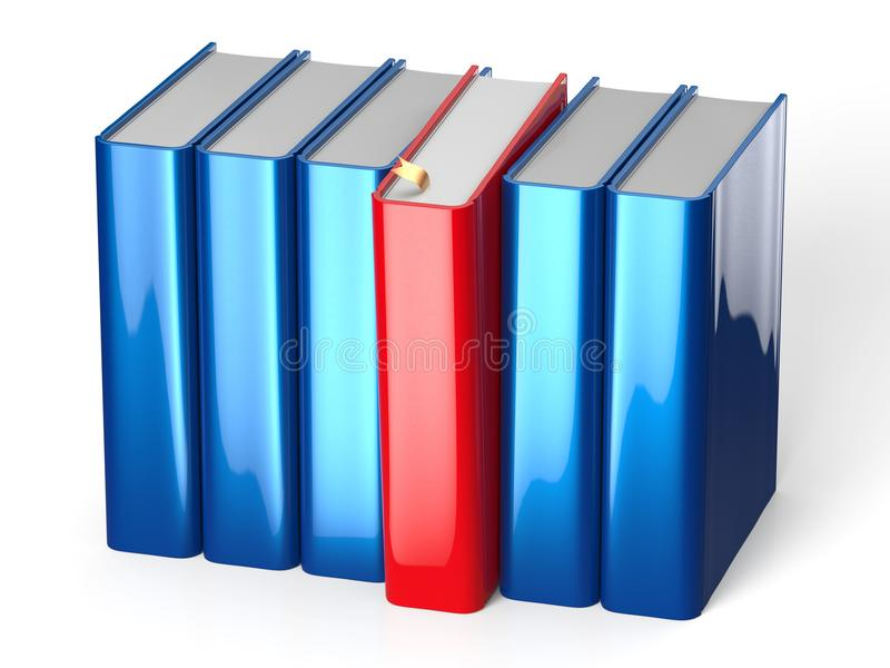 Boek die uit boekenrek blauwe rij één het rode kiezen selecteren vector illustratie
