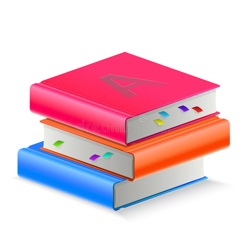Boek drie met referentie vector illustratie