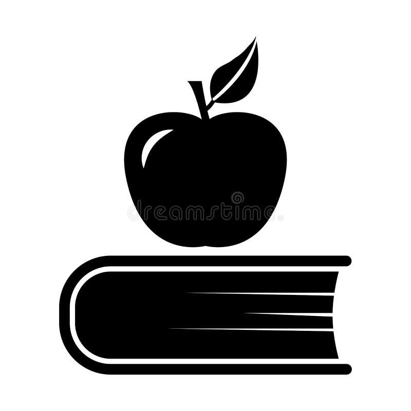 Boek en appel, zwart-wit pictogram Vector vector illustratie
