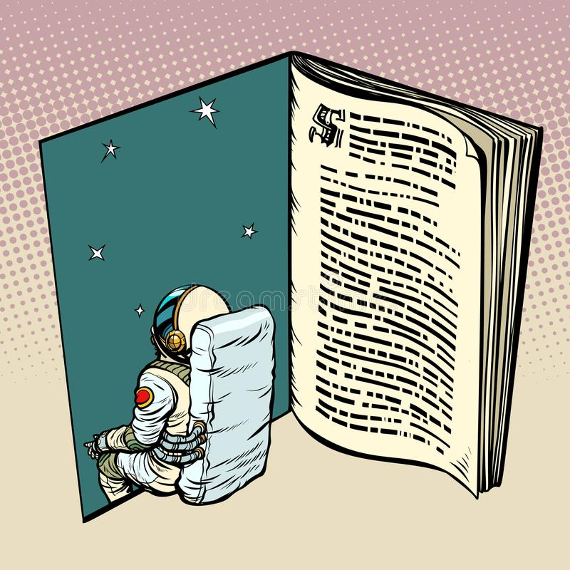 Boek en astronaut, science fiction royalty-vrije illustratie