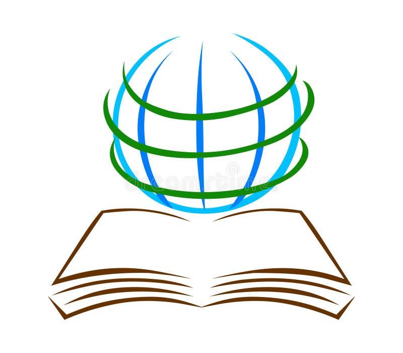 Boek en bolembleemvector Onderwijsembleem royalty-vrije illustratie
