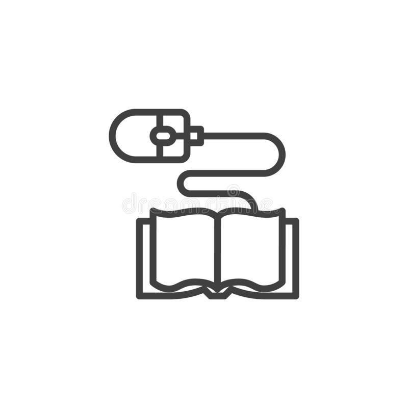 Boek en computer het pictogram van de muislijn royalty-vrije illustratie