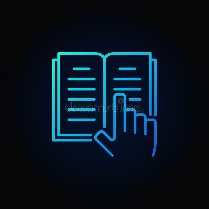 Boek en hand blauw pictogram vector illustratie