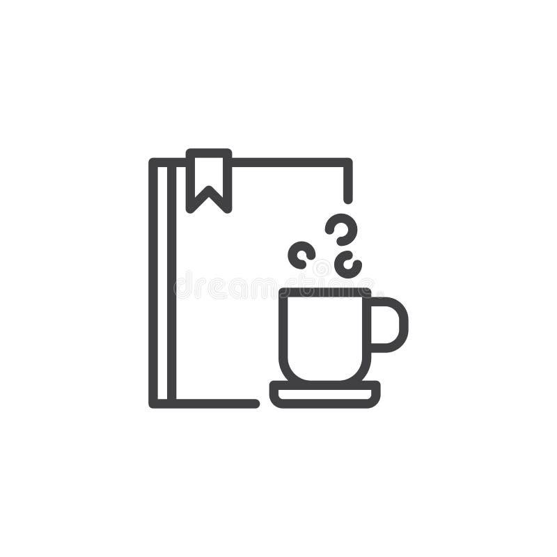Boek en koffie het pictogram van het kopoverzicht vector illustratie