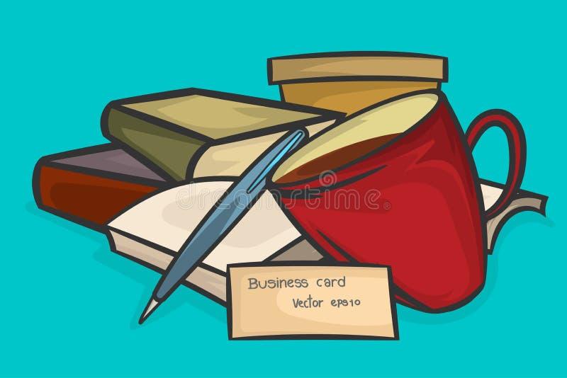 Boek en kopkoffiescène stock illustratie