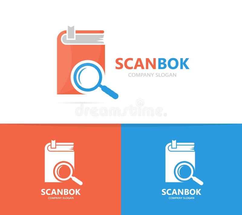 Boek en loupe embleemcombinatie Bibliotheek en vergrootglassymbool of pictogram Unieke boekhandel en onderzoek logotype stock illustratie