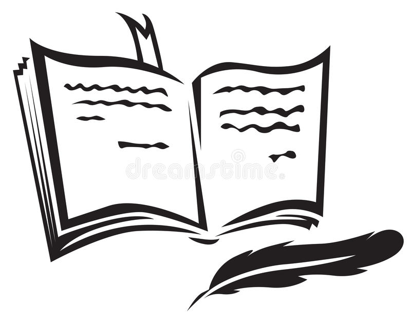 Boek en pen royalty-vrije illustratie